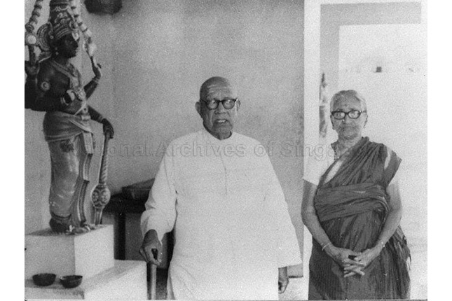 Govindasamy Pillai and his wife at the Sri Srinivasa Perumal temple in the 1970s. (Image from National Archives of Singapore).jpg