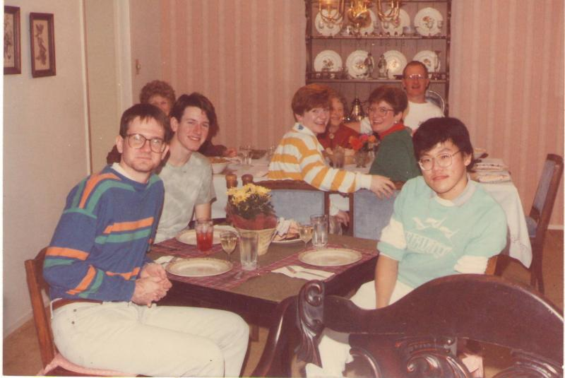 Thanksgiving 1988 with my classmate's family, US.JPG