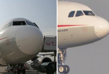 四川航空公司一架客机挡风玻璃在飞行途中爆裂。(互联网)