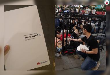 华为到苹果新加坡旗舰店派发充电宝