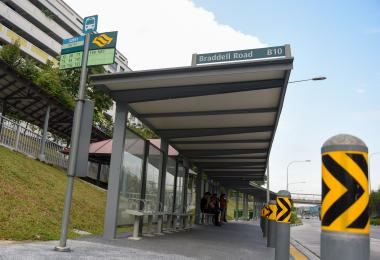Braddell Bus Stop with stolen bench