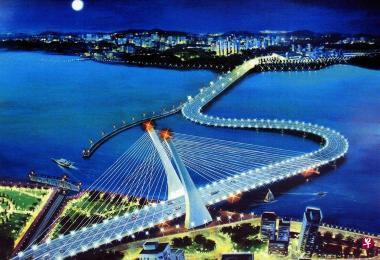 衔接新加坡和柔佛的新马弯桥构想图。