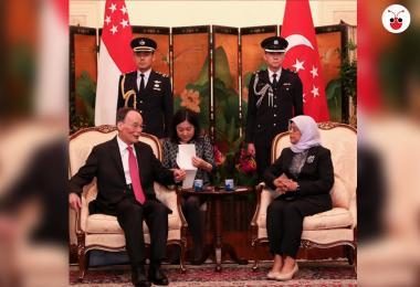 中国国家副主席王岐山拜会新加坡总统哈莉玛谈新中关系
