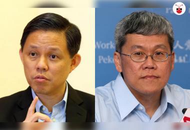就账目审查问题,热门总理接班人之一的陈振声(左)和反对党工人党议员方荣发昨天在国会交锋约20分钟。