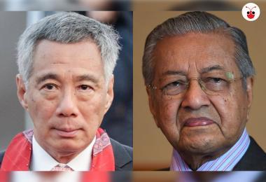 新加坡总理李显龙(左)和马国首相马哈迪。