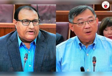 Iswaran and Gan Kim Yong at Parliament