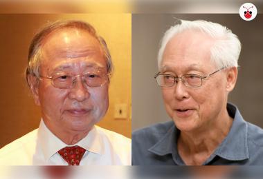 投身反对阵营的陈清木(左)和国务资政吴作栋是认识60多年的老友。