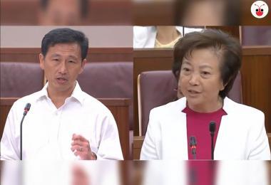 教育部长王乙康(左)和义顺集选区议员李美花。