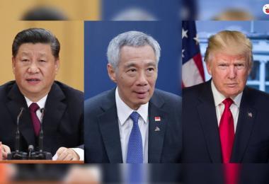 """李显龙总理(中)说:""""我是你的朋友,但我也是他的朋友,我不是(任何人的)跟屁虫(stooge),我代表我自己。"""" 左为中国国家主席习近平,右为美国总统特朗普。(戴筠懿制图)"""