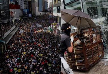 反送中兵分两路 香港回归22周年一路游行一路冲撞立法会
