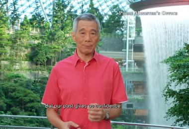 李显龙总理今年选在星耀樟宜发表国庆献词。(视频截图)