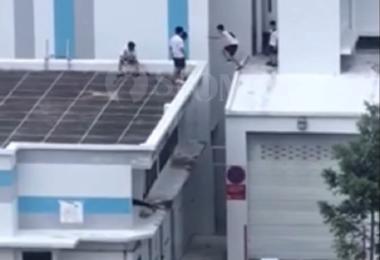 学生在组屋高空跑酷