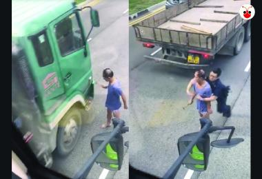 Man with hammer tackled down by police after attacking vehicles