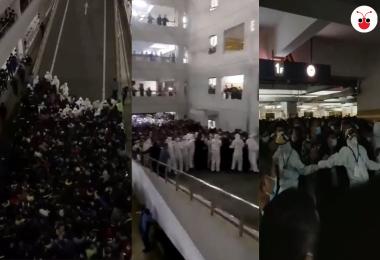 上海浦东机场混乱场面