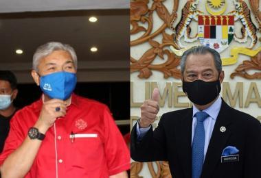 巫统党主席阿末扎希与马国首相慕尤丁