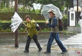 台风在日本中部登陆,带来强风暴雨。(法新社)