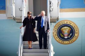 美国总统特朗普抵达韩国展开国事访问。(路透社)