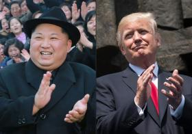 Kim and Trump clapping