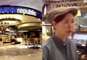 来自中国的服务生在大食代的一家嘟嘟糕摊位打工,因沟通不良,和一名新加坡客人吵架。