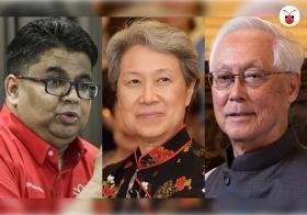 (左起)马哈迪的亲信莱士胡申、李显龙总理夫人何晶、我国前总理、荣誉国务资政吴作栋