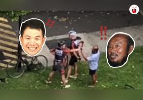"""公路擂台赛,罗厘司机(右一)和脚踏车骑士从路上到路旁都在""""互掐""""。(Roads.sg)"""