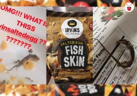 继泰国顾客之后,又有一网民投诉,在IRVINS的咸蛋零食里抓出死壁虎。(郭跃男制图)