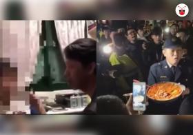 台湾一男子因不满肉圆不辣而暴打儿子引众怒,民众手捧辣椒排队要教训他。