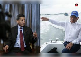新马两国外交部长才谈得好好的,柔佛州务大臣奥斯曼沙比安(右)隔天竟然就登上入侵我国海域的马国船只。我国外长维文(左)今天在国会上回应:所有行动都要面对后果,需要反击的时候会反击。(曾庆祥制图)
