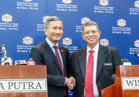 新加坡外交部长维文和马来西亚外交部长赛富丁