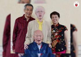 李毅鹏和父母李显龙与何晶及祖父李光耀合影。(互联网)