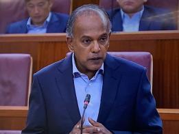 内政部兼律政部长尚穆根今天在国会发表部长声明。