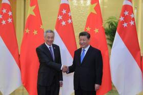 我国总理李显龙(左)与中国国家主席习近平会面。