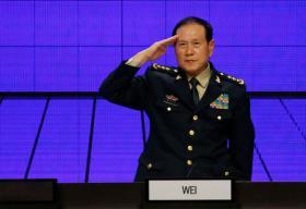 中国国防部长魏凤和6月2日在新加坡举行的香格里拉对话会上做压轴演讲。(路透社)