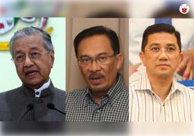 (左起)马国首相马哈迪、公正党主席安华、公正党署理主席阿兹敏。谁会笑到最后? (左起)马国首相马哈迪、公正党主席安华、公正党署理主席阿兹敏。谁会笑到最后?(叶安琪制图)