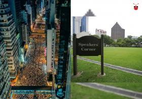 """香港和新加坡""""双城记""""。港人走上街头大示威(左),新加坡人到芳林公园""""演说者角落(右)""""演说。"""