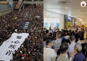 香港青年为反逃犯条例走上街头(左),新加坡Uncle Auntie为抢购54元华为手机大排长龙。