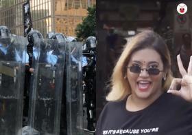 不是自由表达不好,但文明秩序的基础确实很脆弱。左为香港警察与示威港青对峙,右为本地网红普丽蒂(Preeti Nair,简称 Preetipls),她制作的视频因带有侮辱华人的内容而引发警方介入调查。