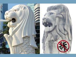 滨海湾鱼尾狮和圣淘沙鱼尾狮