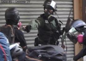 港警发射实弹打中示威者胸口
