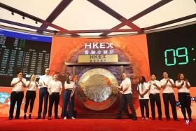 中国互联网巨头阿里巴巴集团昨早正式在港交所挂牌上市, 在港交所敲锣的10位阿里巴巴合作伙伴,来自四大洲八个国家,左一为王睦儒。(网易)