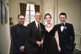 罗氏兄弟与沈屮和奥巴马合照