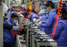 中国的空调制造厂车间