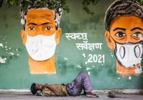 印度冠病疫情壁画
